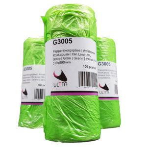 Papperskorgspåse 30L Grön HDPE 5my
