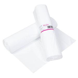 Papperskorgpåse 30L Vit LDPE 12my
