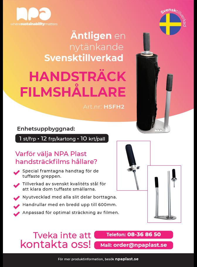 Den svensktillverkade handsträckfilmshållaren – NPA Plast ser inhemsk produktion som rätt steg in i framtiden